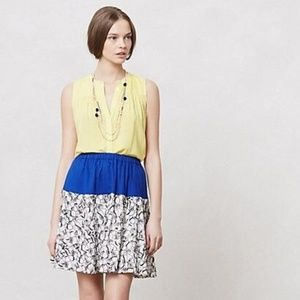 Anthropologie Black and White Floral Blue Skirt